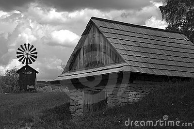 Shed with an iron windmill black and white