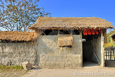 Shed by mud and grass, in china countryside