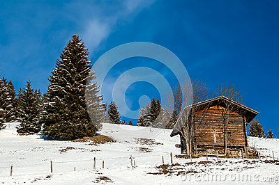 Shed in the snow, Switzerland