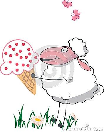 Sheep with big ice cream