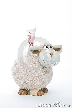 Sheep coin bank with euro
