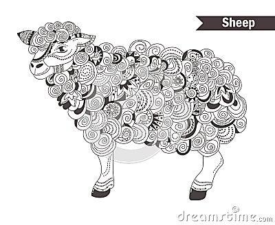 Sheep Coloring Book Stock Vector Image 73044768
