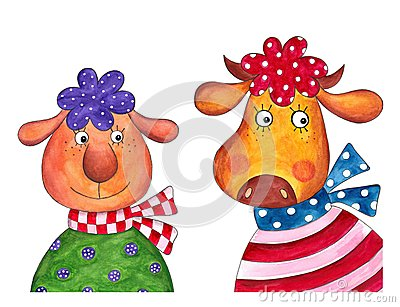 Sheep and cow. Cartoon characters