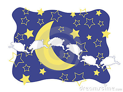 Sheep, Crescent Moon, and Stars