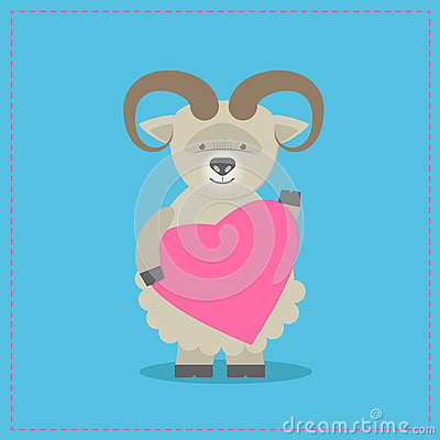 Sheep holding a heart. Plush toy lamb with heart. Gift. Postcard Vector Illustration