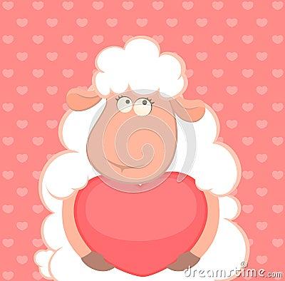 Sheep holds a heart