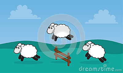 Sheep Jumping Fence in Field