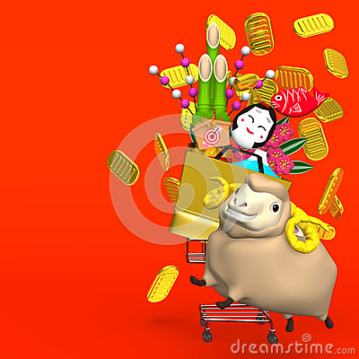 Free Sheep,New Year S Ornaments,Shopping Cart On Red Royalty Free Stock Image - 38804516