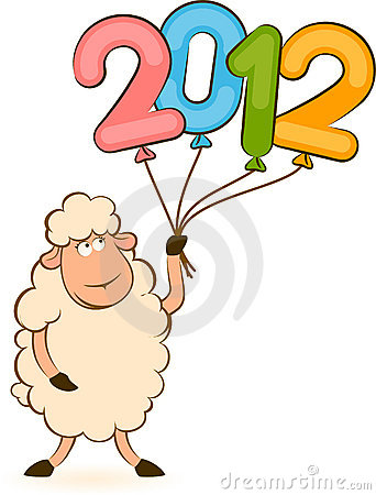 Sheep with numbers 2012 year
