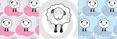 Sheep and sheep seamless pattern