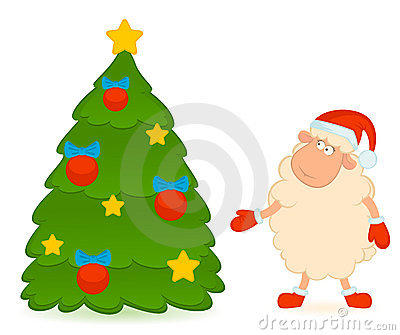 Sheep in the suit of Santa Claus