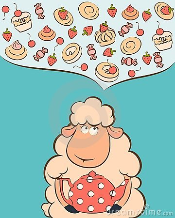 sheep with sweet cakes and tea