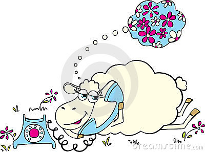 Sheep with telephone