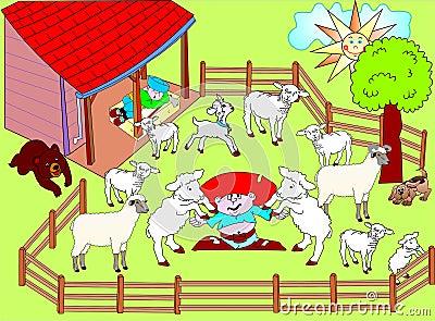 Sheepfold stock vector. Image of animated, green, walach ...