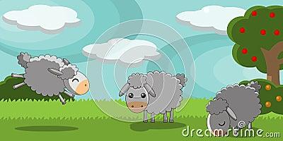Sheeps bonitos em uma paisagem do campo