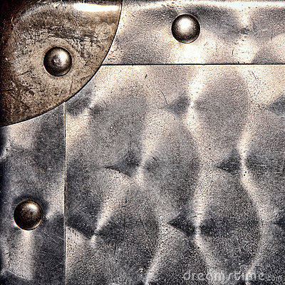 Sheet Metal Corner and Rivets Grunge Background