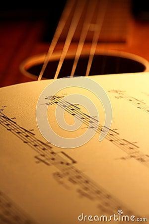 Sheet music on guitar 1
