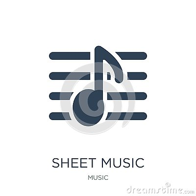sheet music icon in trendy design style. sheet music icon isolated on white background. sheet music vector icon simple and modern Vector Illustration