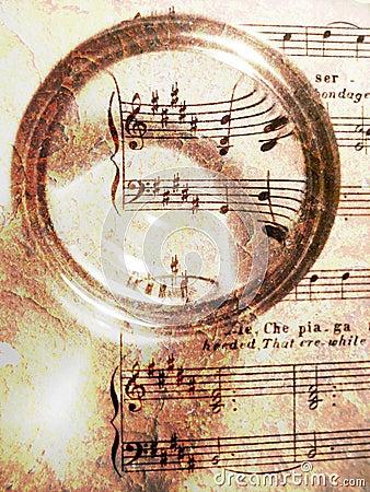 Sheet music on texture