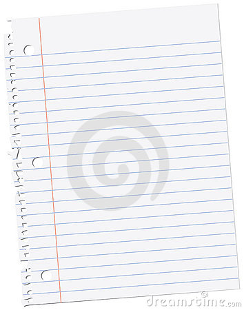 Sheet of notebook paper