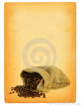 Sheet of old paper with spilled coffee motif