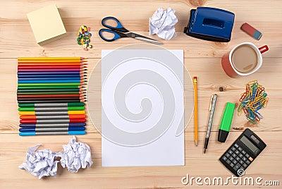 Sheet of paper on a desk
