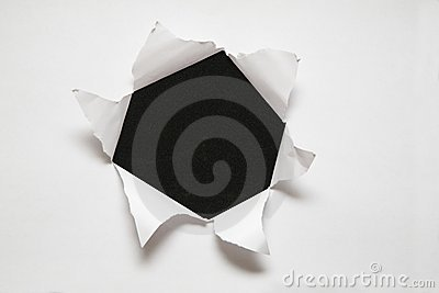 The sheet of paper with the hole