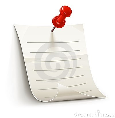 Sheet of paper for notes pinned by pin