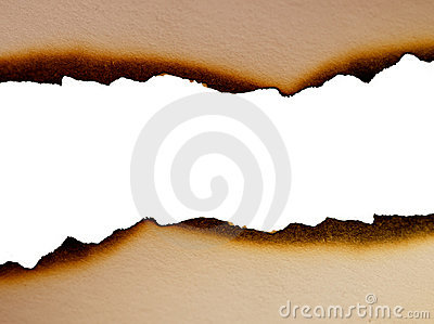 Sheet of paper with the scorched edges close up