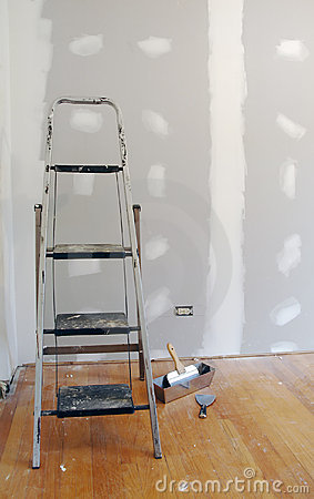 Sheetrock or Drywall and Ladder