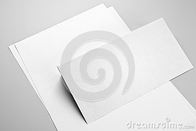 Sheets of paper and envelope