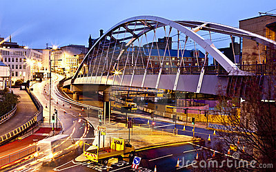 Sheffield Tram Bridge by night