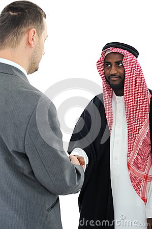 Sheikh making a deal with caucasian