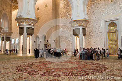 Sheikh zayed mosque in Abu Dhabi, UAE - Interior Editorial Photography