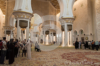 Sheikh zayed mosque in Abu Dhabi, UAE - Interior Editorial Stock Image