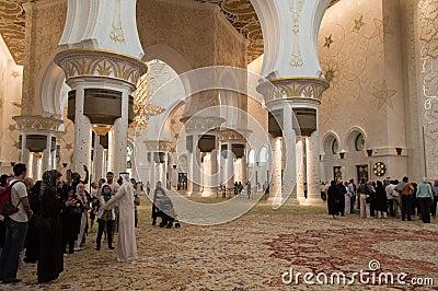 Sheikh zayed mosque in Abu Dhabi, UAE - Interior Editorial Stock Image