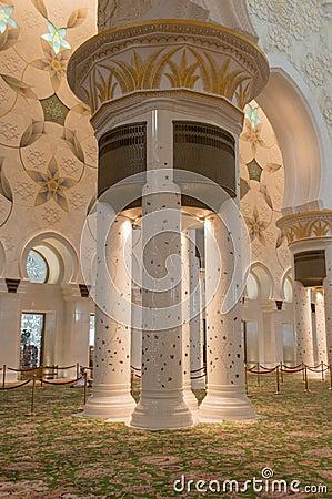 Sheikh zayed mosque in Abu Dhabi, UAE - Interior Editorial Stock Photo
