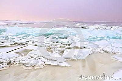 Shelf ice on frozen Ijmuiden, Holland