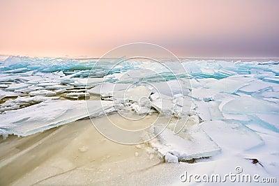 Shelf ice on Ijsselmeer in winter