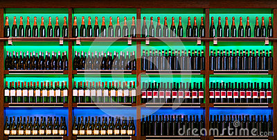 Shelf with wine bottles