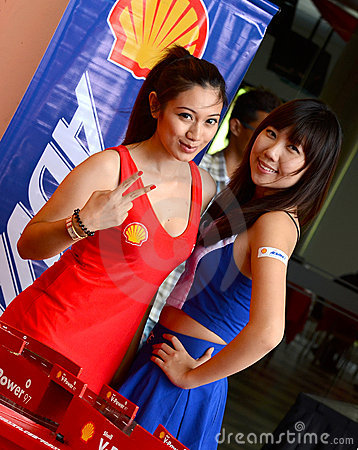 Shell advance racing Model in motorshow Editorial Stock Image