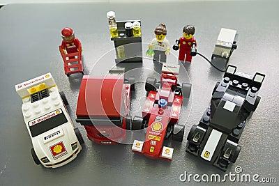 Shell Ferrari Lego toys Editorial Photo