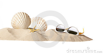 Shell and sunglasseson beach