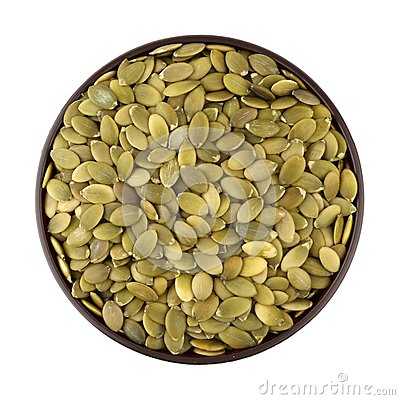 Shelled pumpkin seed in the bowl