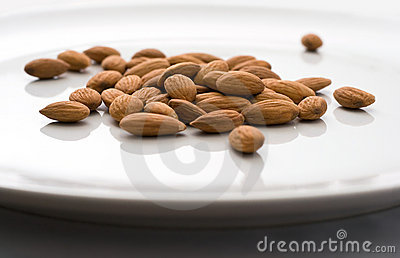 Shelled Whole Almonds on Plate