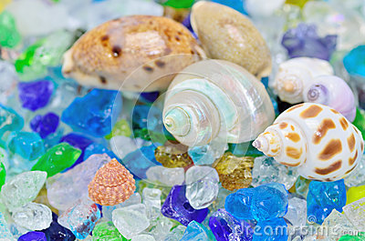 Shells and colored glass.