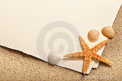 Shells, Starfish And Blank Paper Sheet Royalty Free Stock Photo - Image: 17824435
