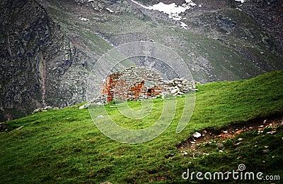 Shelter ruin on alps