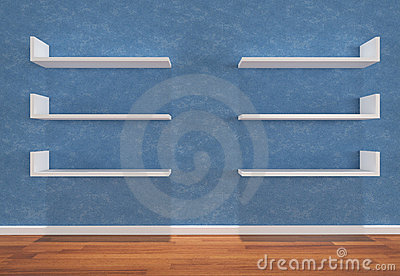 Shelves on blue wall