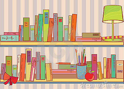 Shelves with books at home